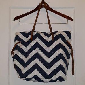 Handbags - Blue and white Chevron bag
